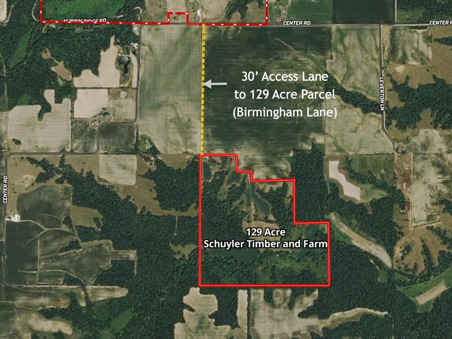 Aerial Map 129 Acre Schuyler Timber and Farm Land off Center Rd. Plymouth, IL