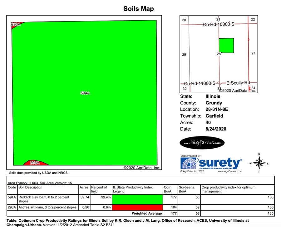 Soil Map 40 Acre Campus Road Farm, Grundy County, IL