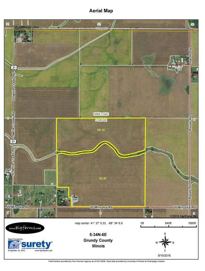 FSA Map of 155 Acres, Nettle Creek Township, Grundy County
