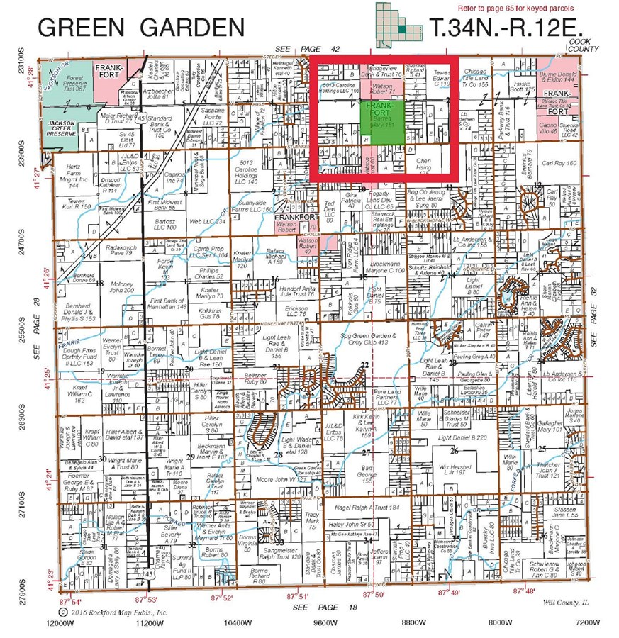 Plat Map for 151 Acres in Green Garden Township, Will County