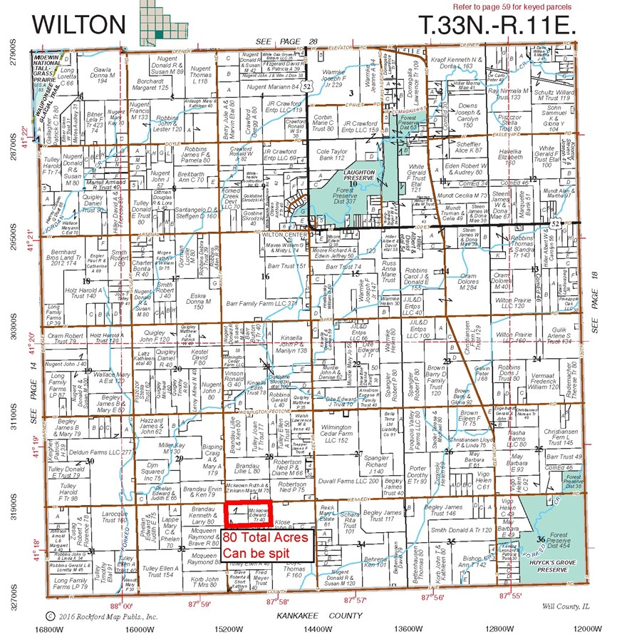 Wilton Township Plat Map, Will County Illinois