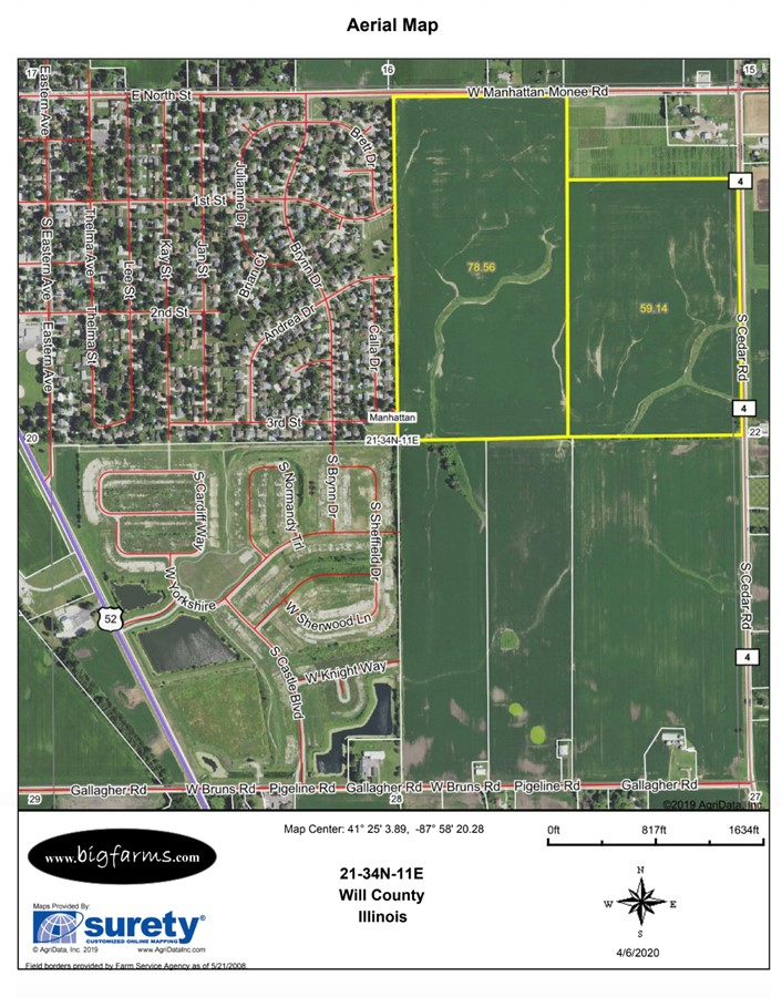 FSA Map 140 Acre Manhattan Farm Located in Manhattan Township, Will County, IL