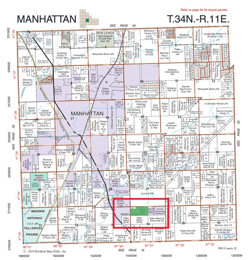 Plat Map 73 Acre Boseo Farm Manhattan Township, Will County