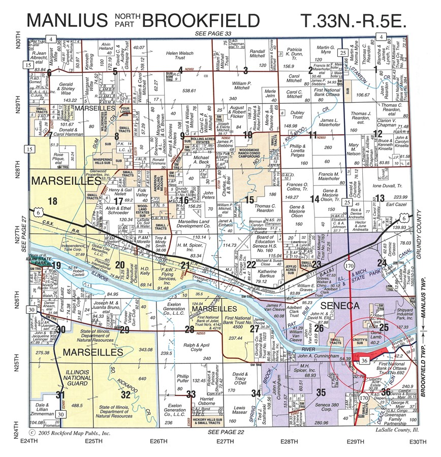 Plat Map of Illinois River Marina in Seneca, Brookfield Township, LaSalle County