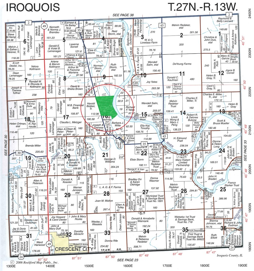Plat Map of the Combo 150 Acres in Iroquois County