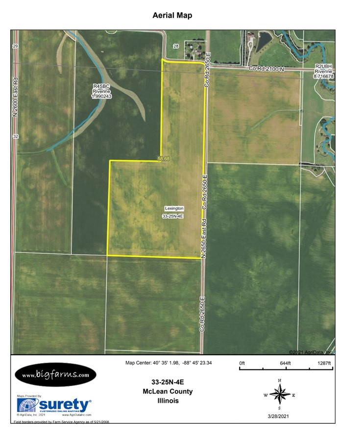 FSA Map 58 Acre McCoy Farm, Lexington Township, McLean County
