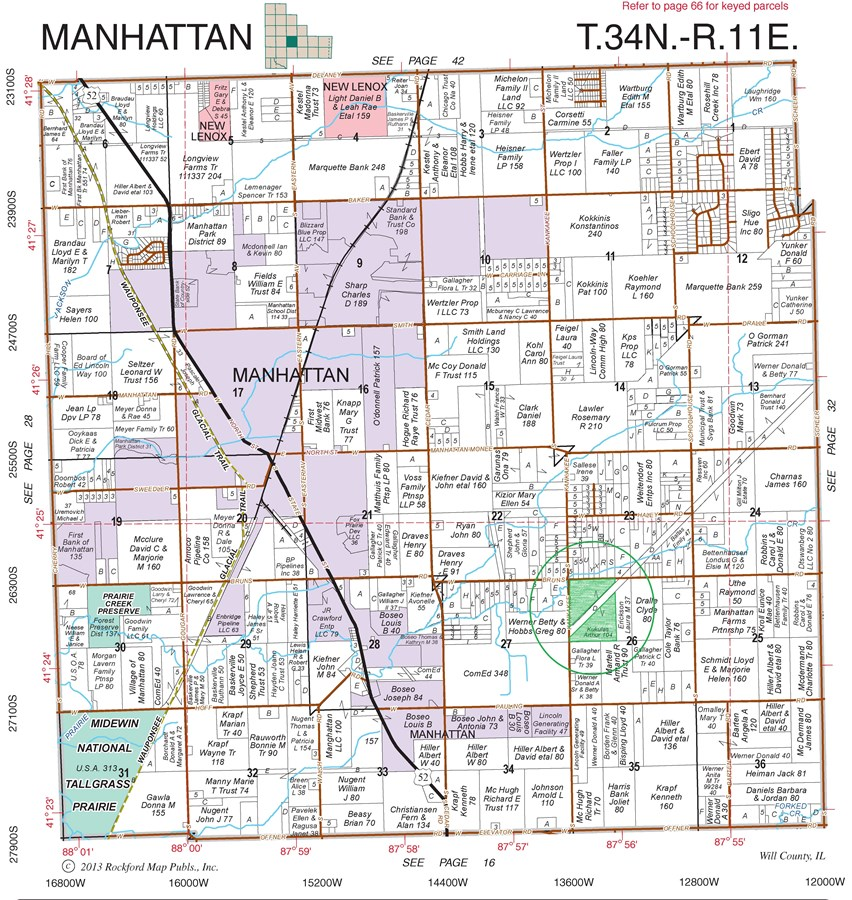 Plat Map of 104 Acres in Manhattan Township, Will County