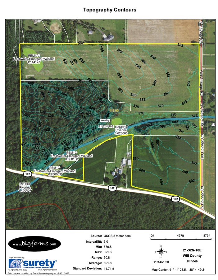 Contours Map Parcel #1 Butterfield Farm Custer Township, Will County