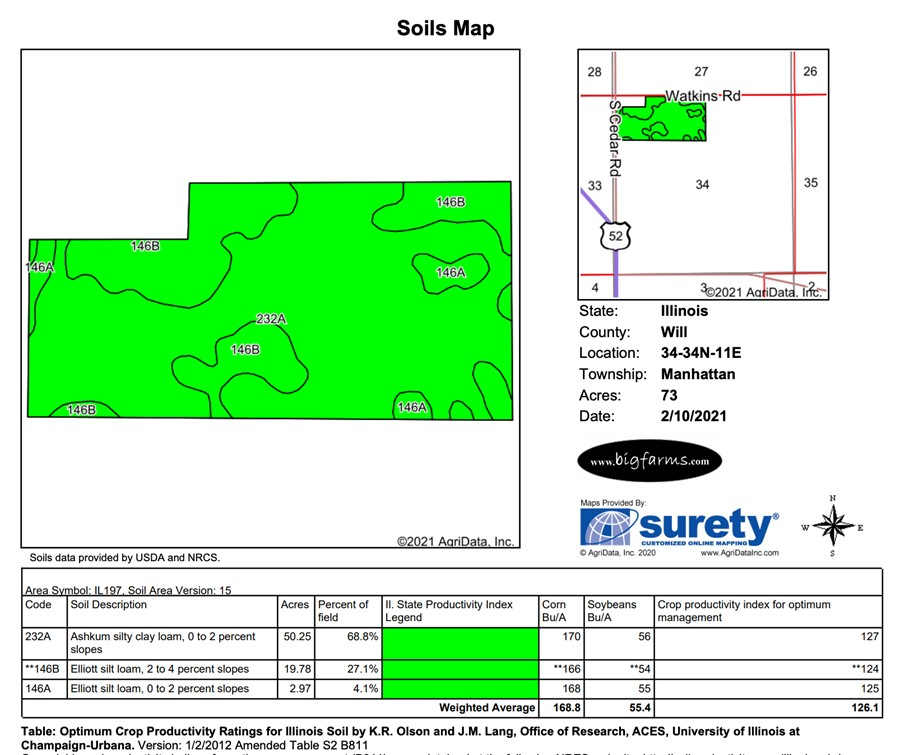 Soil Map 73 Acre Boseo Farm Manhattan Township, Will County
