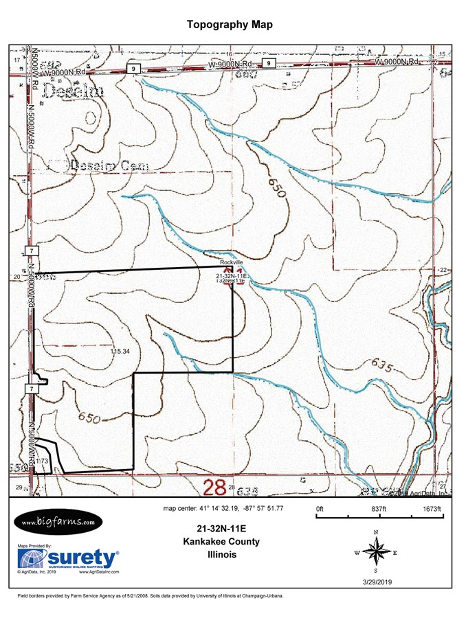 Topographical  Map of Rockville Twp Farm