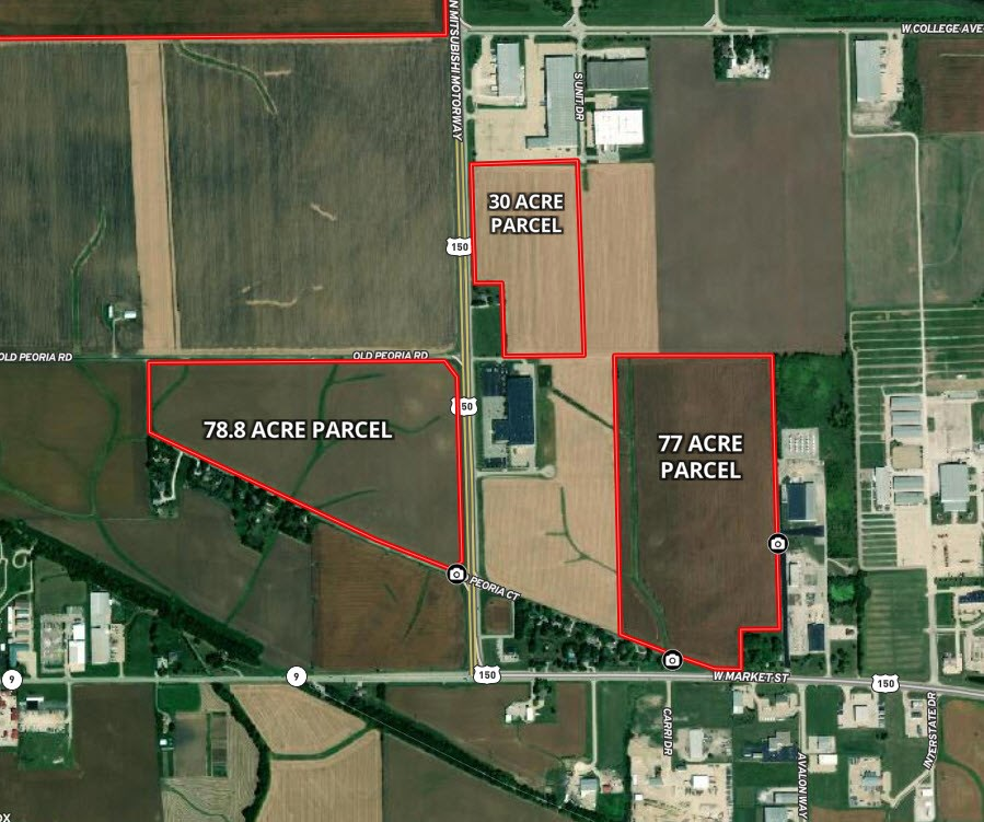 Aerial Map of 186 Acres in Dry Grove Township, McLean County