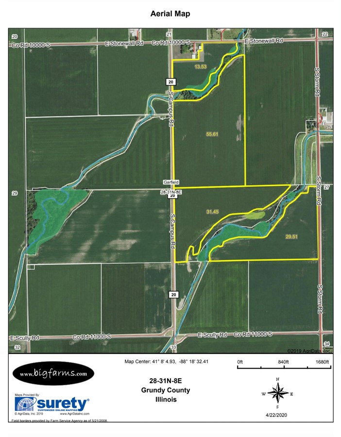 FSA Map 155 Acre Gardner Farm Garfield Township, Grundy County, IL