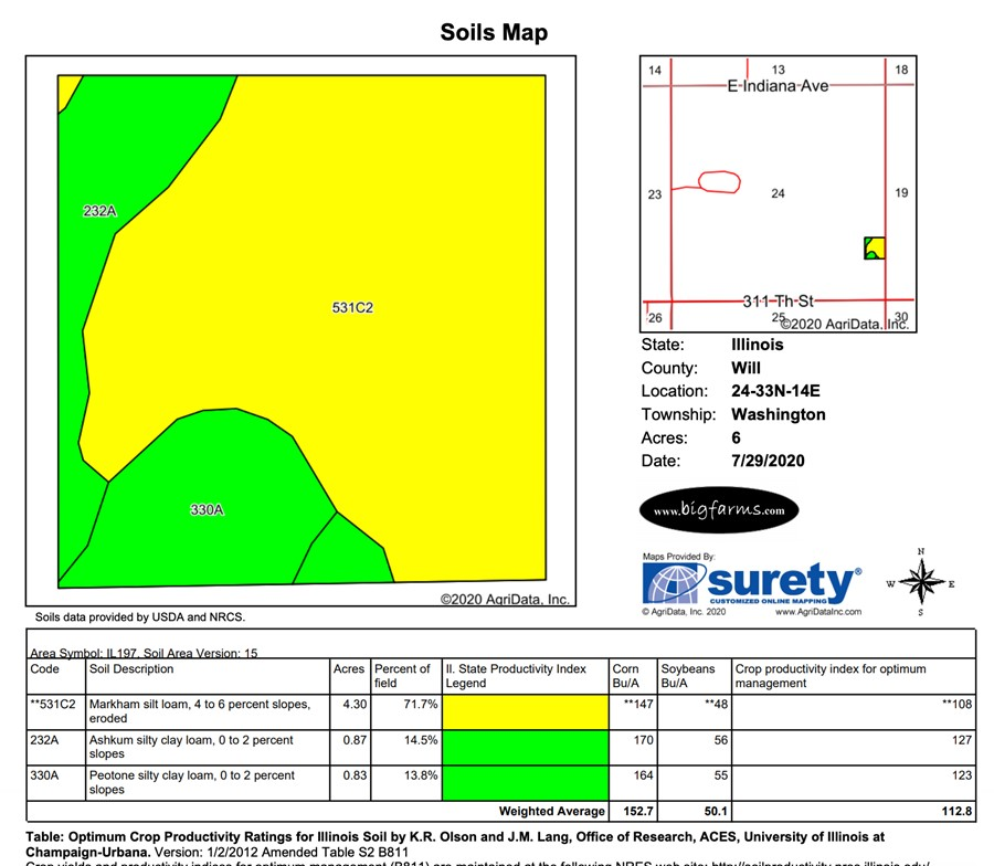 6.1 Acre Beecher Building Site Will County, IL Soil Map