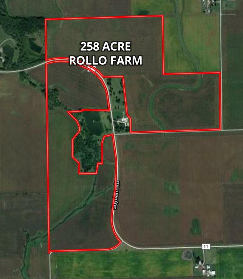 Aerial Map 258 Acre Rollo Farm Paw Paw Township, DeKalb County, IL