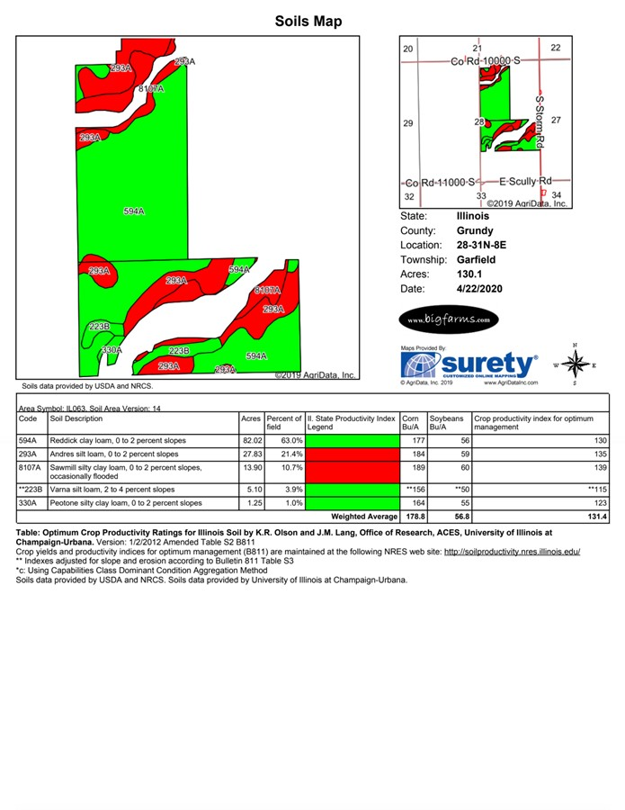 Soil Map 155 Acre Gardner Farm Garfield Township, Grundy County, IL
