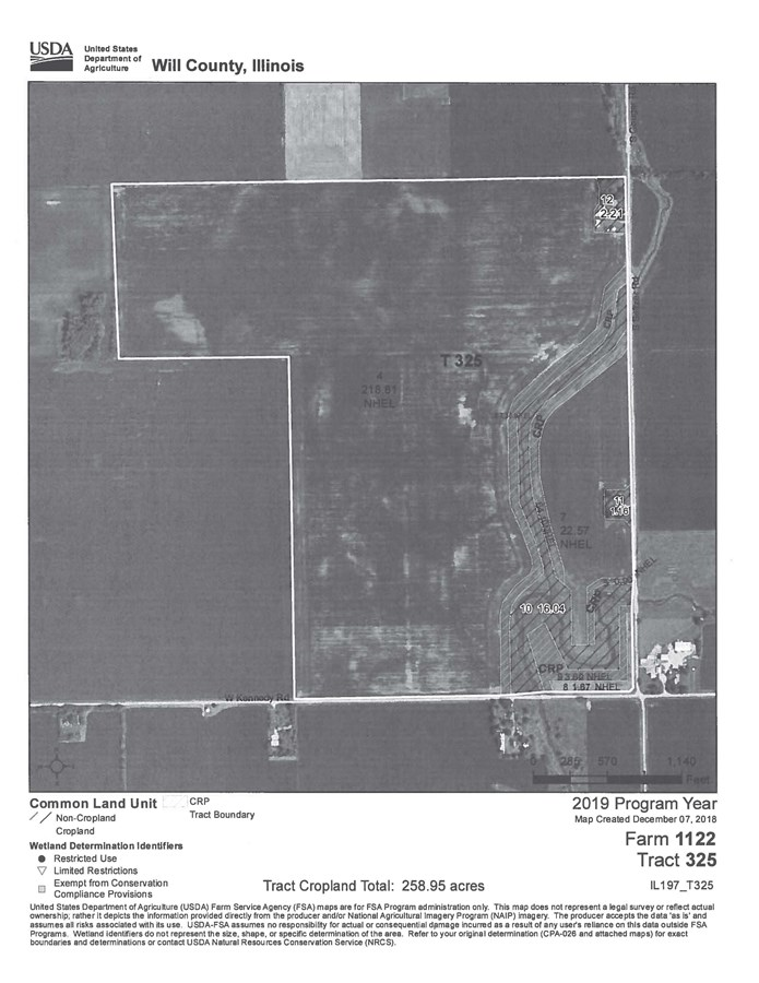 CRP Filter Strip Aerial Map for Wilton Township 277 Acres
