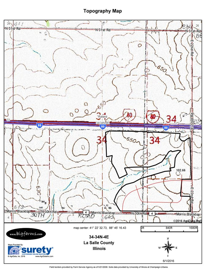 Topographical Map for 147 Acres Rutland Township, LaSalle County