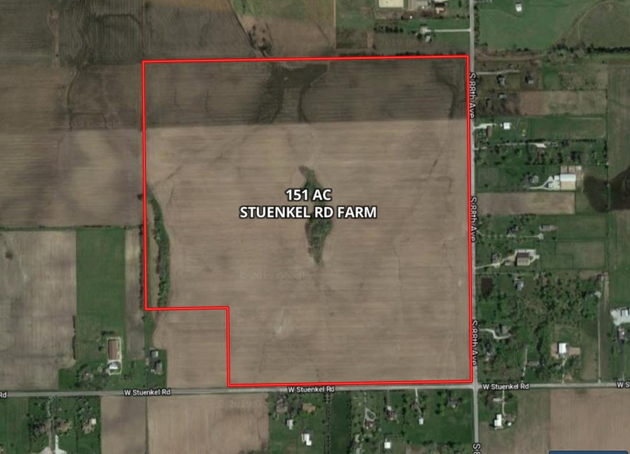 151 Acre Aerial Map on Stuenkel Road.