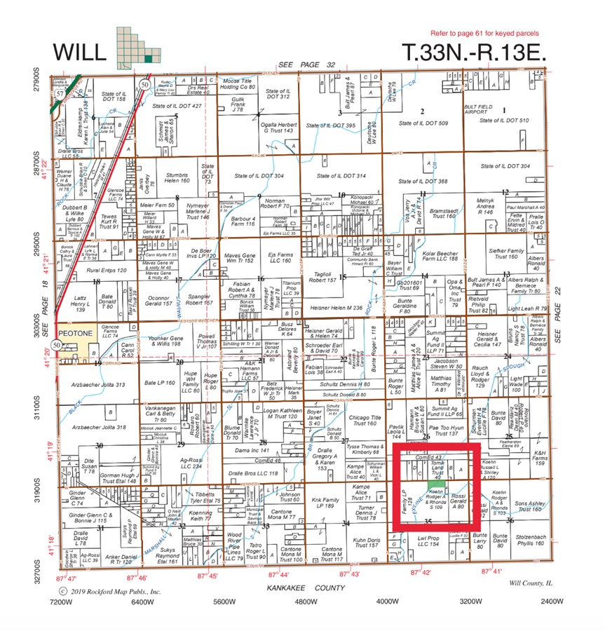Plat Map 11.3 Acre Peotone House and Buildings Will Township, Will County, IL