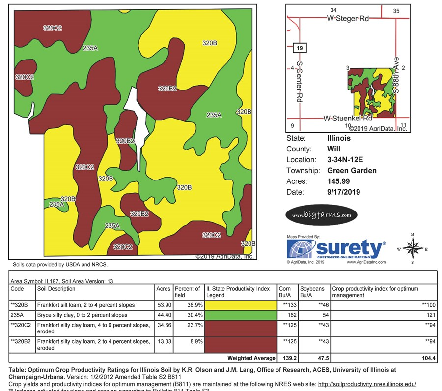 Soil Map for 151 Acres