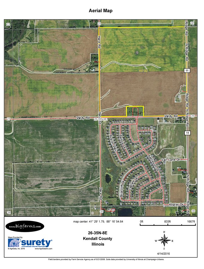 FSA map for 157 acre Avery farm on Ridge road, Minooka, IL