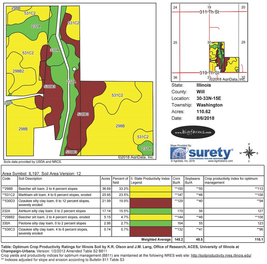 Soil Map for 110 Acre Farmland in Washington Township, Will County