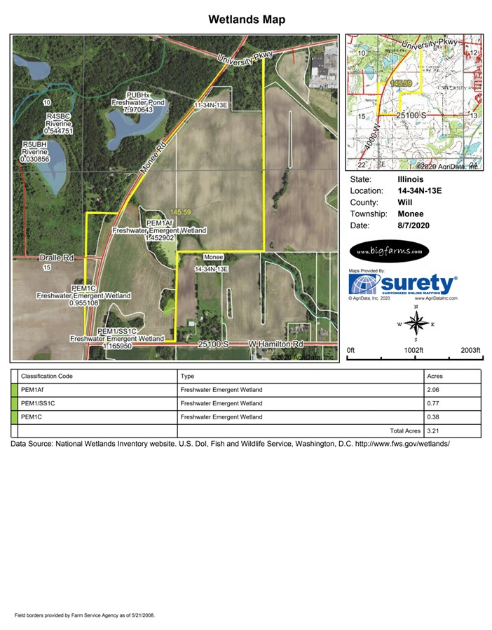 Wetlands Map 140 Acre Bate Farm University Park Monee Township, Will County