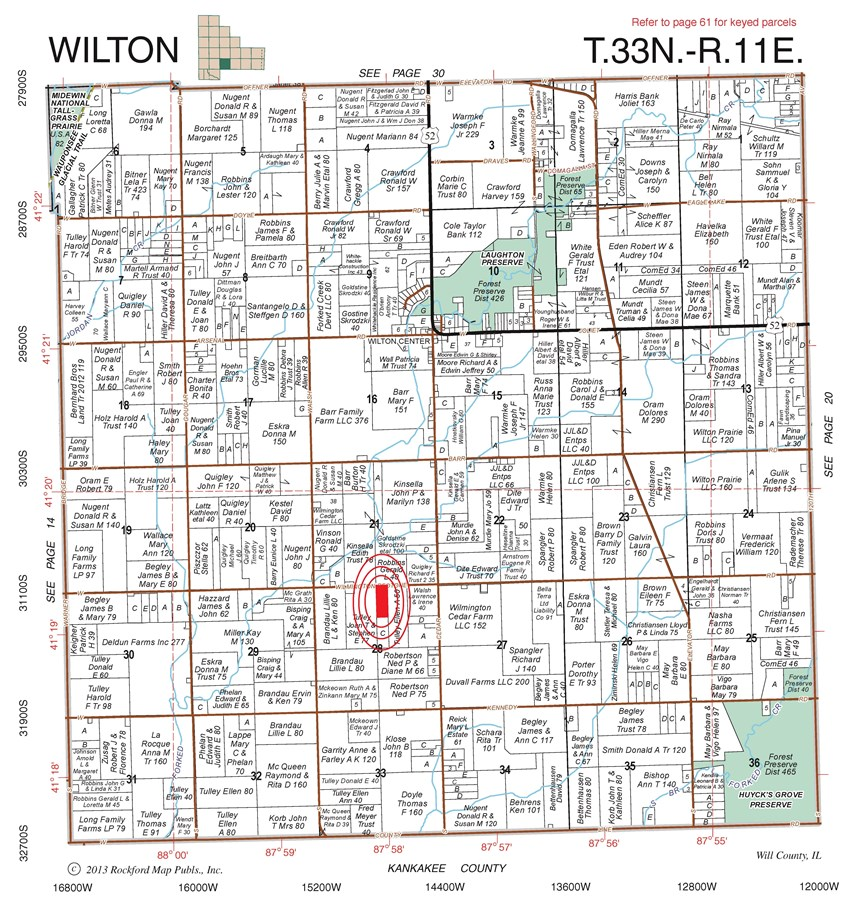 Plat Map of Wilton Township 15 acres on W. Wilmington Road, Will County Illinois