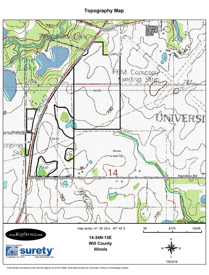 Topography Map 140 Acre Bate Farm University Park Monee Township, Will County