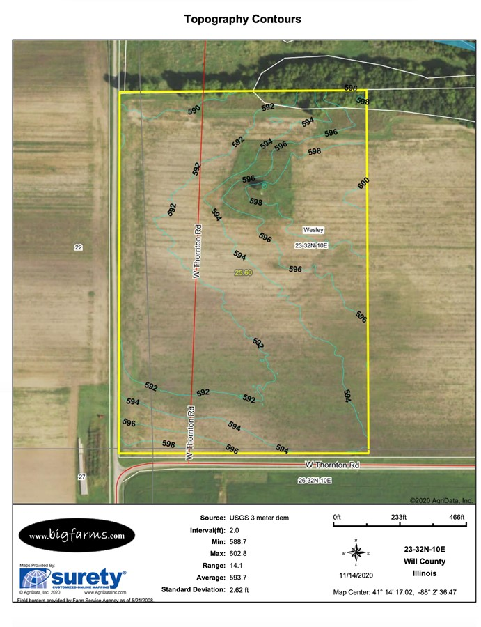 Contours Map Parcel #4 Butterfield Farm Custer Township, Will County
