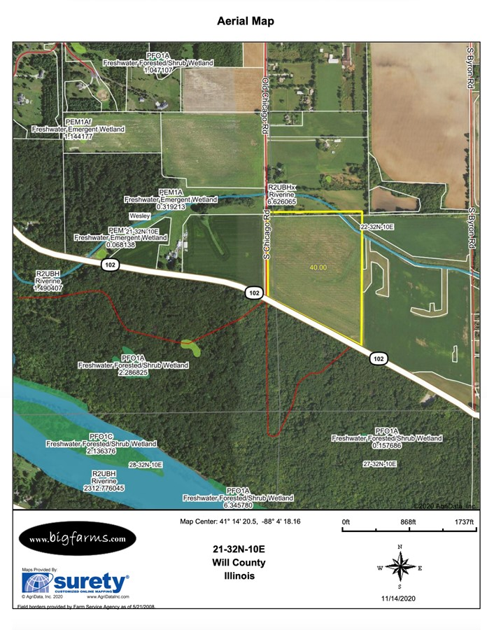 FSA Map Parcel #2 Butterfield Farm Custer Township, Will County