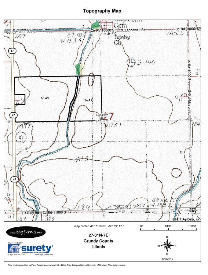 Topographical Map of 77 Acre Goodfarm Township, Dwight IL
