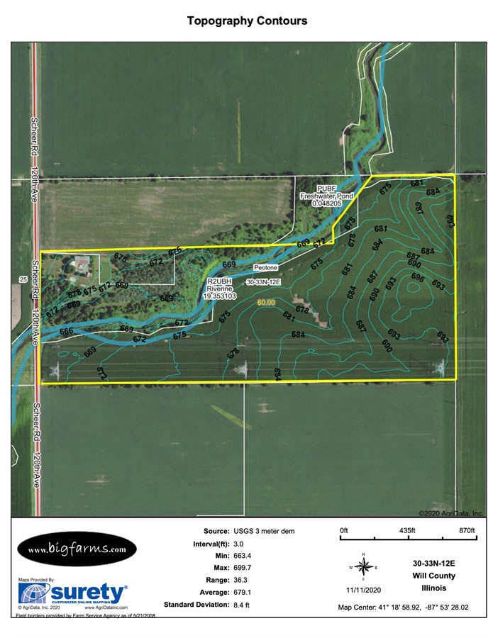 Contours Map 60 Acre Peotone Kahn Farm Peotone Township, Will County