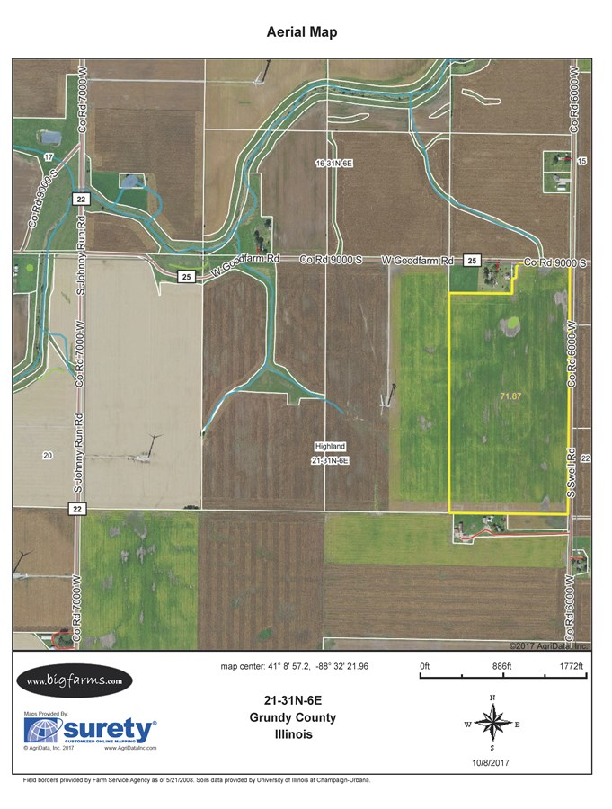 FSA Map of Parcel 3, 75 Acres Highland Township, Grundy County