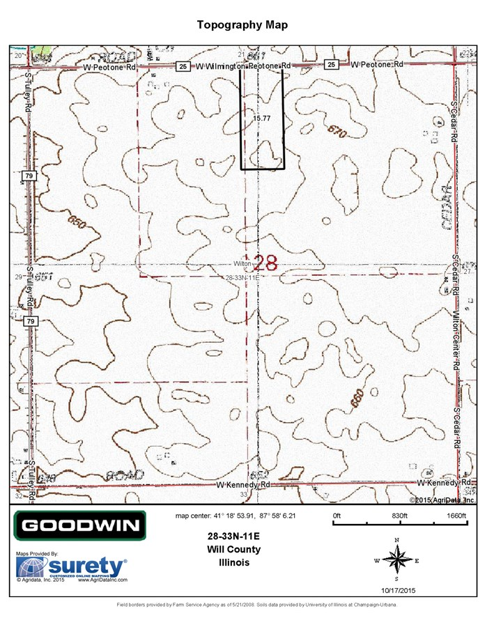 Topographical Map of Wilton Township 15 Acres