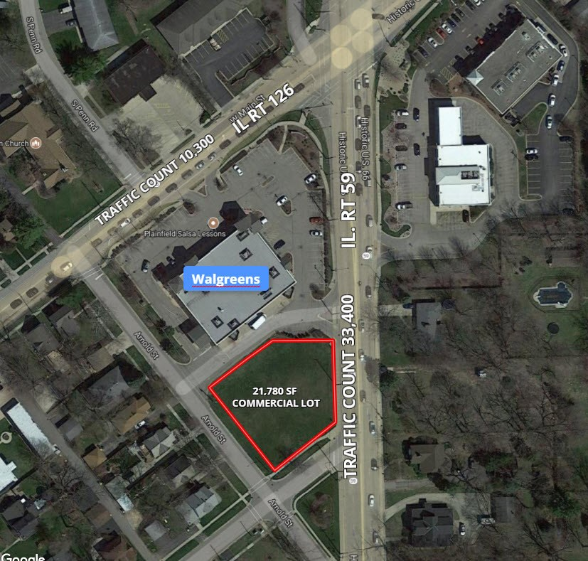 Aerial Map of Plainfield Commercial Half Acre Lot