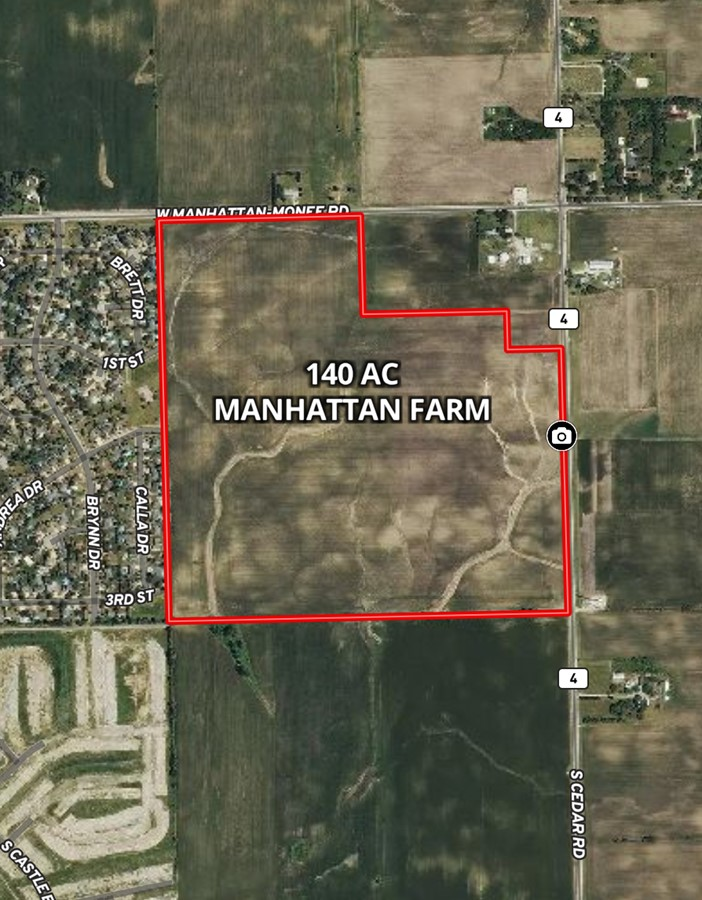 Aerial Map 140 Acre Manhattan Farm Located in Manhattan Township, Will County, IL