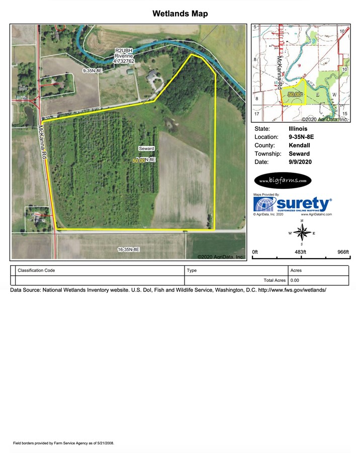 Wetlands Map 50 Acre Seward Township Farm Kendall County