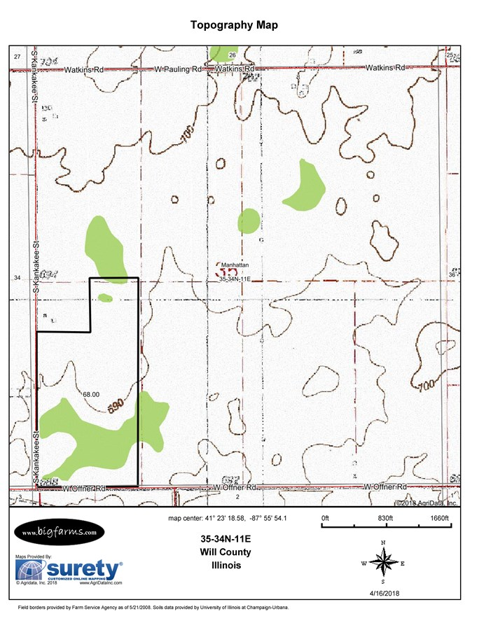 70 Ac Topo Map, Manhattan Township, Will County