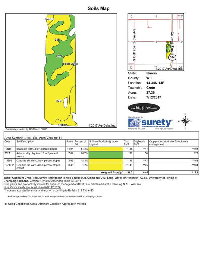 Soil Map of 35 Acre Crete Township Development site, Will County