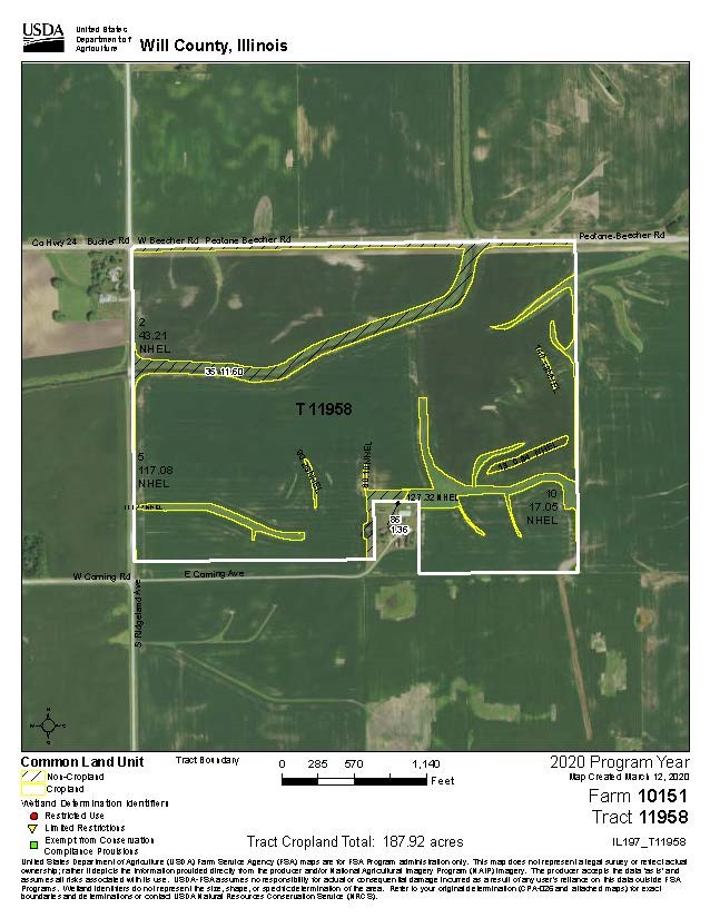 USDA Map for 198 acres in Will Township, Will County Illinois