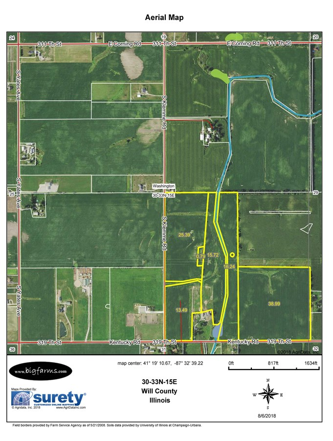 FSA Map of 110 Acres in Washington Township, Will County