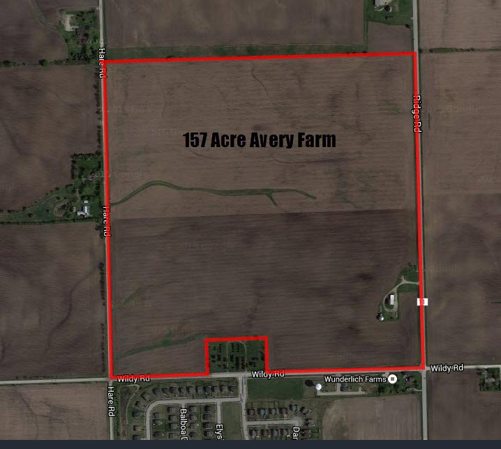 Aerial map of 157 acres on Ridge road, Minooka, IL