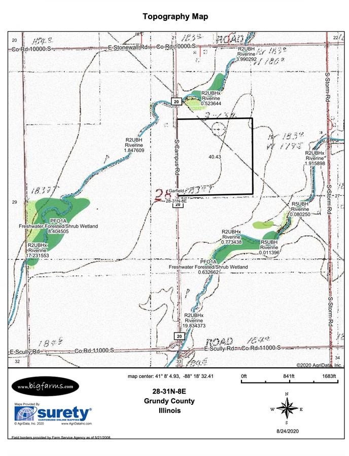 Topography Map 40 Acre Campus Road Farm, Grundy County, IL