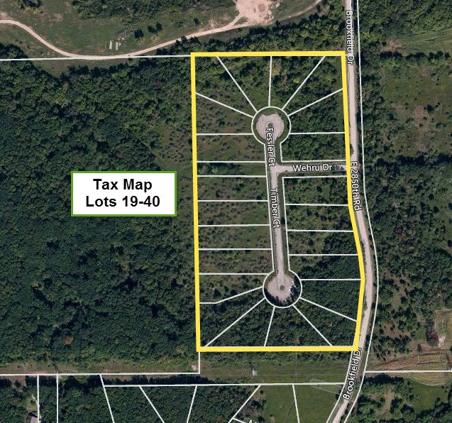 Aerial Tax Map of Lots 19-40, Brookfield Estates, LaSalle County, Seneca IL