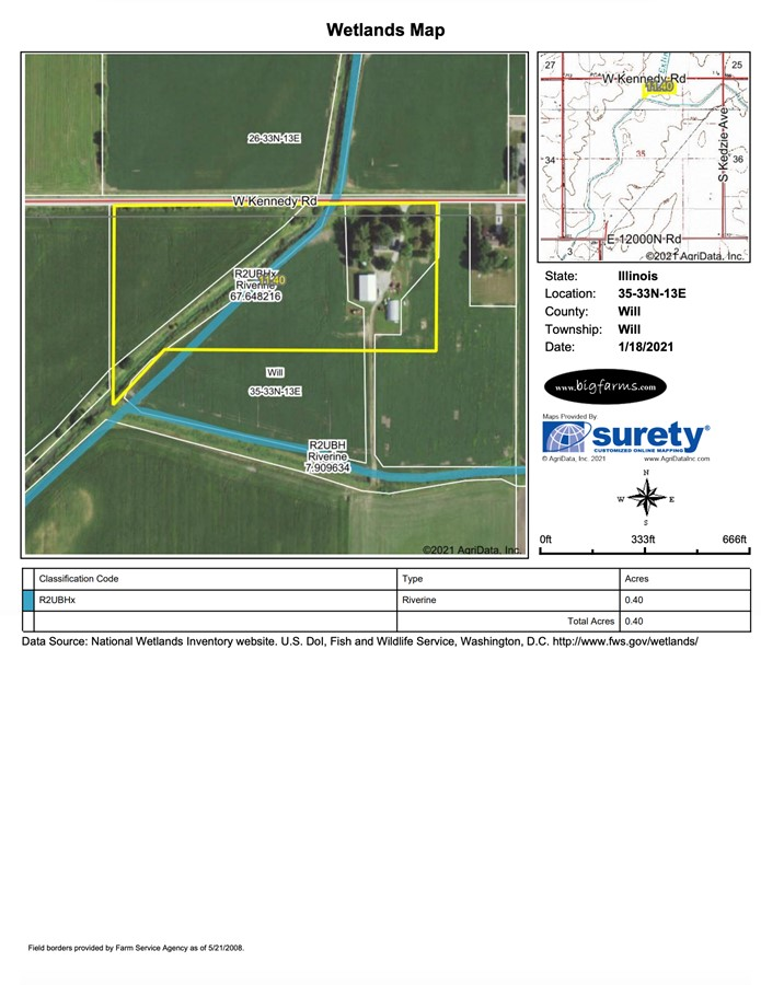 Wetlands Map 11.3 Acre Peotone House and Buildings Will Township, Will County, IL