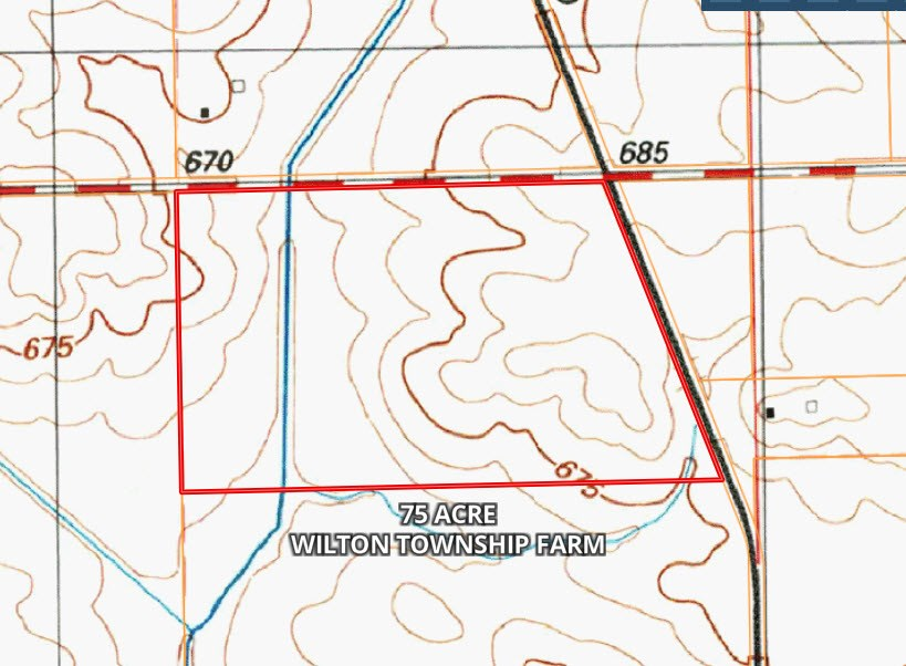 Topographical  Map for 75 Acres in Wilton Township, Will County Illinois