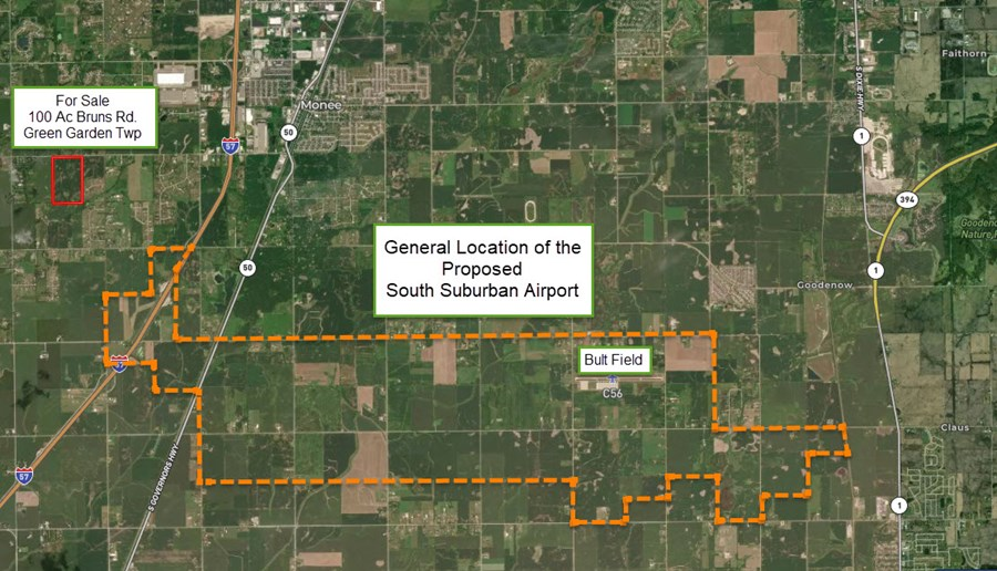 Outline of the future South Suburban Airport at Peotone