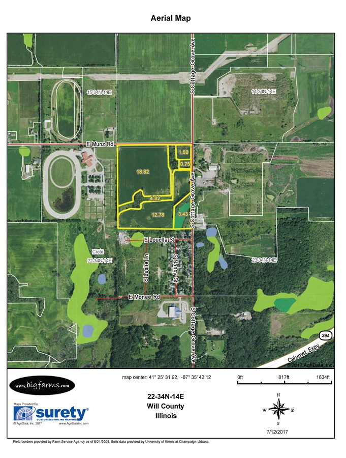 FSA Map for 45 Acres in Crete Township