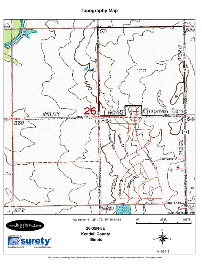 Topographical Map for 157 Acres Seward Township, Kendall County